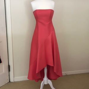 Halston Heritage coral high-low strapless dress